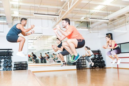 Cardio class jumping